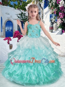 Luxurious Straps Ball Gown Pageant Dresses for Kid with Ruffled Layers