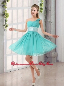 Natural One Shoulder A Line Ruching Lace Up Dama Dresses