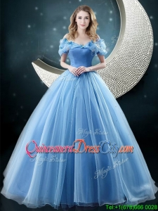 2022 Cheap Off the Shoulder Brush Train Quinceanera Dress with Butterfly Appliques