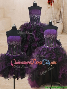 Beautiful Beaded and Ruffled Black and Purple Strapless Detachable Quinceanera Dress
