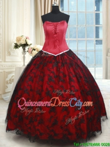 Cheap Strapless Laced Quinceanera Dress in Red and Black