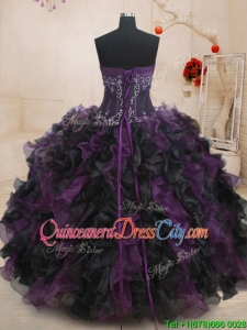 New Style Strapless Beaded and Ruffled Quinceanera Dress in Black and Purple