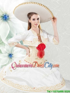Cheap Embroideried and Beaded Organza and Taffeta Quinceanera Dress in White