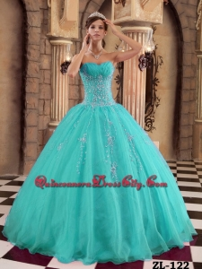 Turquoise Ball Gown Floor-length Organza Beading Quinceanera Dress