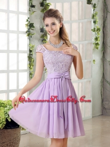 2021 Chiffon Bridesmaid Dress with Ruching Bowknot
