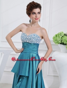 Sweetheart High-low Beading and Applique Taffeta Teal Mother Dress