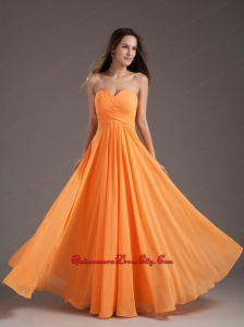 Orange Sweetheart Ruching Empire Long Mother Dress