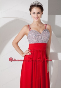 Pretty Red Empire Straps Mother Dress Chiffon Beading and Ruch Floor-length Silver Beads Chiffon Ruch Beading Straps Evening Dress Sexy 2022