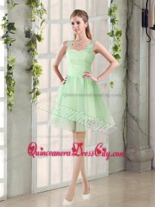Ruching Tulle A Line Straps Dama Dress with Lace Up