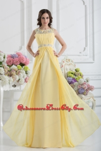 Empire Scoop Beading Ruching Light Yellow Mother Dress