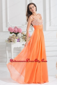 Empire Sweetheart Floor-length Beading Orange Mother Of The Dress