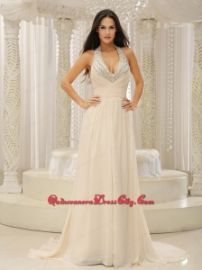 Halter Top With Beaded Ruched Bodice For Beautiful Mother Dress