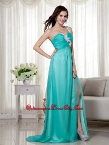 Turquoise Empire One Shoulder Brush Train Silk Like Satin and Chiffon Appliques Mother Dress