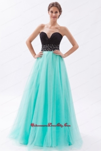 Black and Turquoise A-line Sweetheart Floor-length Tulle Beading Mother Dress