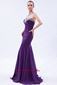 Purple Trumpet Sweetheart Beading and Ruch Mother Dress Brush Train Chiffon