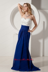 White and Royal Blue Mother Dress Column Sweetheart Beading Brush Train Chiffon