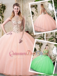 Modest Scoop Peach Quinceanera Dresses with Beading