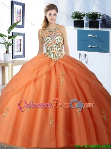 Discount Embroideried Bodice and Bubble Halter Top Orange Quinceanera Dress in Tulle