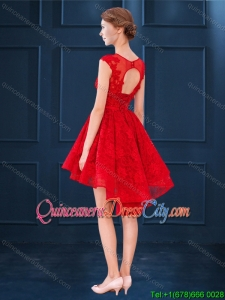Elegant Laced See Through Scoop Red Dama Dress in High Low