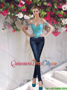 Best Selling Off the Shoulder Teal Corset with Beading