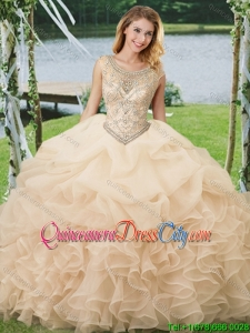 Beautiful Beaded Organza Champagne Quinceanera Dress with Ruffles and Pick Ups