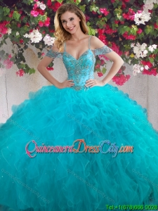 Beautiful Three-Piece Off the Shoulder Beaded and Ruffled Quinceanera Dresses in Teal
