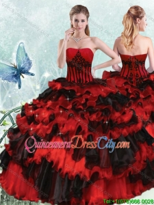 Unique Applique and Ruffled Layers Strapless Quinceanera Dress in Black and Red
