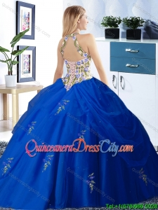 Best Selling Halter Top Red Quinceanera Dress with Embroidery and Pick Ups