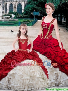 Cheap Straps Brush Train White and Wine Red Princesita Quinceanera Dresses with Beading and Bubbles