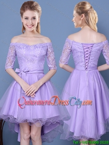 Gorgeous Tulle and Taffeta Half Sleeves Lavender Dama Dress with Off the Shoulder