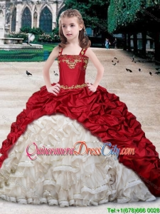 Infant Wine Red and White Brush Train Mini Quinceanera Dress in Organza and Taffeta