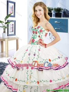 Luxurious Sweetheart Ruffled Layers and Embroideried Organza and Taffeta Quinceanera Dress