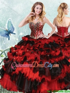 Perfect Visible Boning Beaded and Sequined Bodice Black and Red Quinceanera Dress
