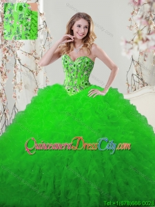 Popular Visible Boning Embroideried and Ruffled Quinceanera Dress in Spring Green