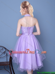 Pretty Sweetheart High Low Lavender Dama Dress with Lace and Bowknot