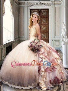 Ball Gown Strapless Champagne Magic Miss Quinceanera Dresses with Appliques and Ruffles