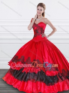 Exquisite Applique Red and Black Modern Quinceanera Dresses in Organza and Taffeta
