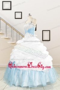 2021 Pretty Halter White and Blue Quinceanera Dress with Beading
