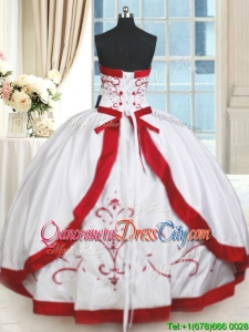 2022 Pretty Strapless Satin White and Red Quinceanera Dress with Beading and Embroidery