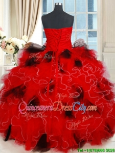 Classical Tulle Sequined and Ruffled Quinceanera Dress in Red and Black
