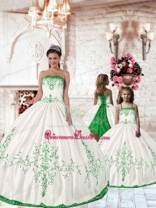 2021 Affordable Olive Green Embroidery Princesita Dress in White