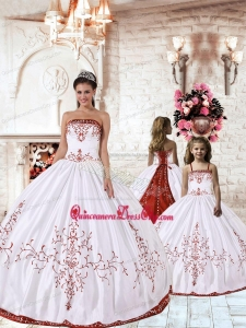 2021 Fashionable Red Embroidery White Princesita Dress