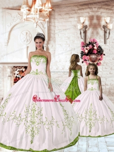 2021 New Arrival White Princesita Dress with Green Embroidery