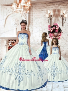Unique White Princesita Dress with Royal Blue Embroidery for 2022