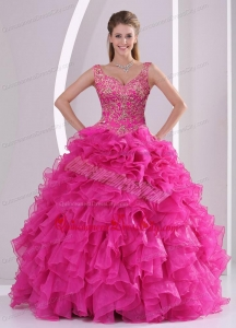 2021 Most Popular Hot Pink Quinceanera Dresses with Beading and Ruffles