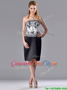Column Strapless Knee-length Short Dama Dress with Embroidery