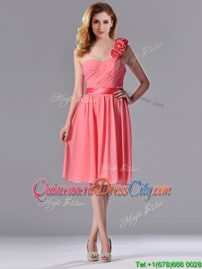 Popular Watermelon Dama Dress with Hand Made Flowers Decorated One Shoulder