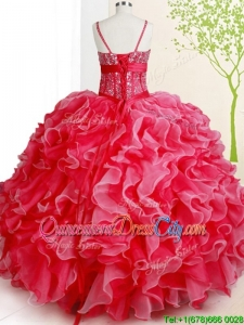 Romantic Spaghetti Straps Beaded Bodice Ruffled White and Red Quinceanera Dress in Organza