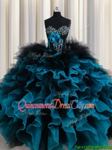 Perfect Organza and Tulle Black and Blue Quinceanera Dress with Ruffles and Beading