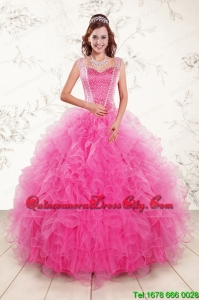 2021 Pretty Straps Hot Pink Quinceanera Dresses with Beading